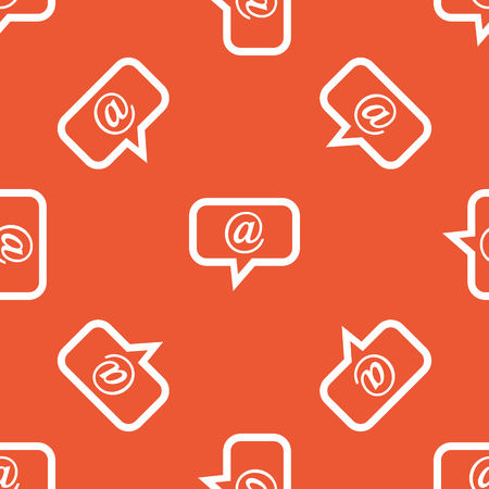 intercourse: Image of chat bubble with at-sign, repeated on orange background Illustration