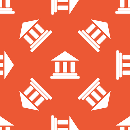 repeated: Image of classical building with pillars, repeated on orange background