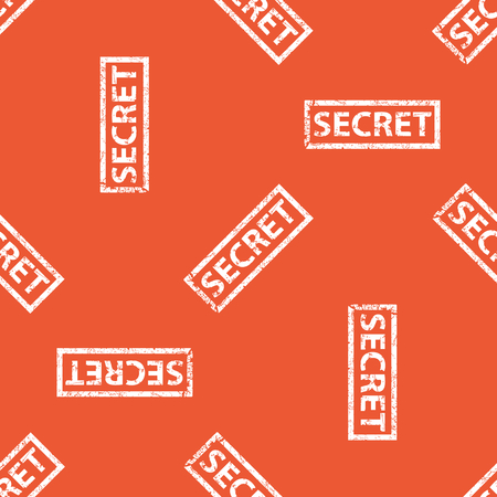 secret word: Image of stamp with word SECRET, repeated on orange background Illustration