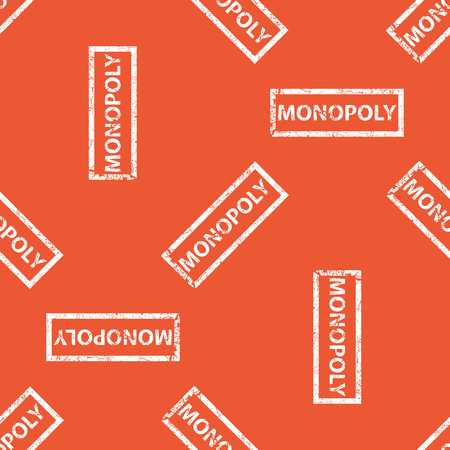 monopoly: Image of stamp with word MONOPOLY, repeated on orange background