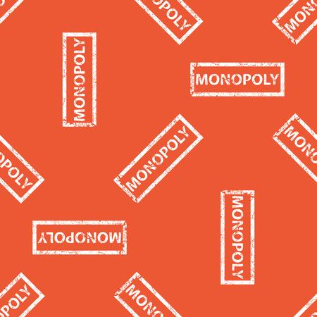 monopolio: Imagen del sello con la palabra MONOPOLY, repite sobre fondo naranja
