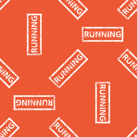 archive site: Image of stamp with word RUNNING, repeated on orange background