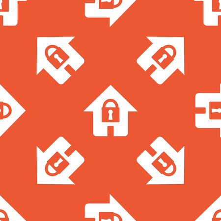 secure site: Image of house with closed padlock, repeated on orange background