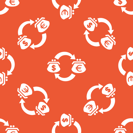 purses: Image of exchange between dollar and euro purses, repeated on orange background