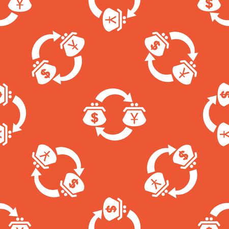 purses: Image of exchange between dollar and yen purses, repeated on orange background Illustration