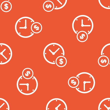 repeated: Image of clock and dollar symbol, repeated on orange background Illustration
