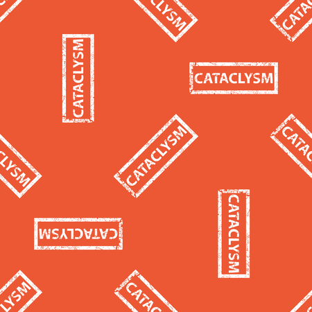 cataclysm: Image of stamp with word CATACLYSM, repeated on orange background Illustration
