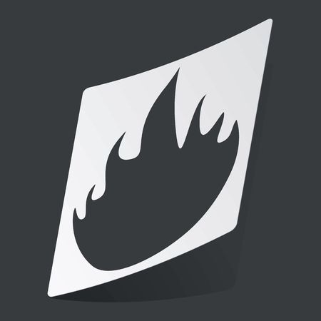 conflagration: White sticker with black image of flame, on black background Illustration