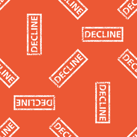 decline: Image of stamp with word DECLINE, repeated on orange background Illustration