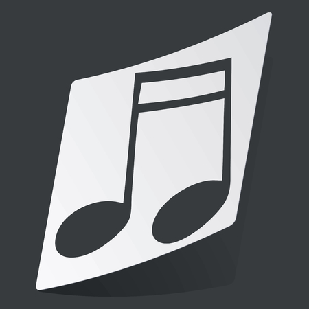 sixteenth note: White sticker with black image of sixteenth note, on black background Illustration
