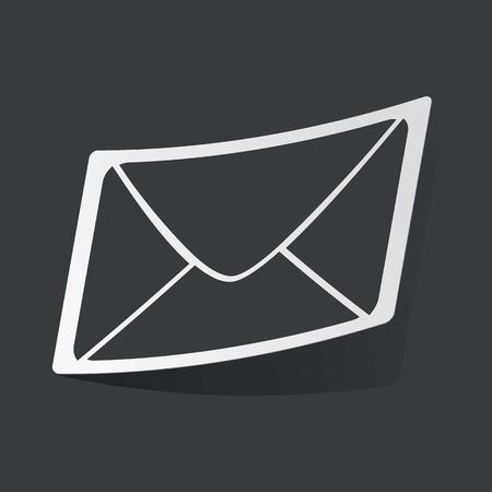 sender: White sticker with black image of envelope, on black background Illustration