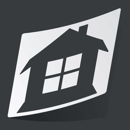 housetop: White sticker with black image of house with window, on black background