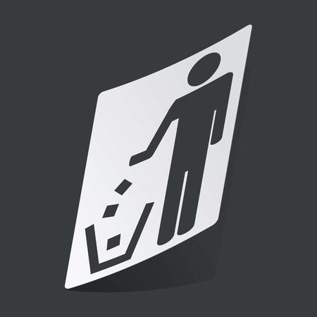 garbage man: White sticker with black image of man throwing garbage, on black background