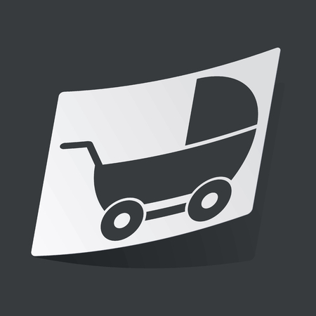 perambulator: White sticker with black image of perambulator, on black background Illustration
