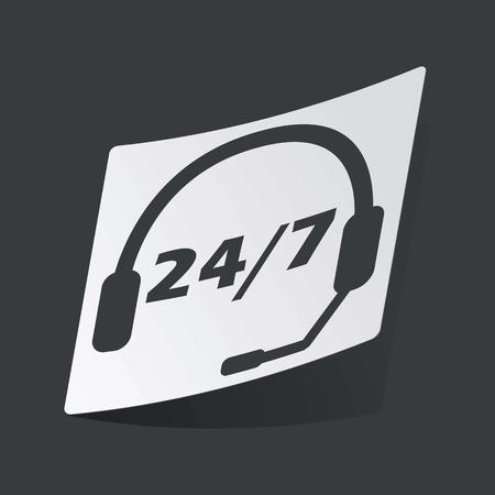 黒いヘッドセットと 7、黒い背景に、24 テキスト白ステッカー  イラスト・ベクター素材