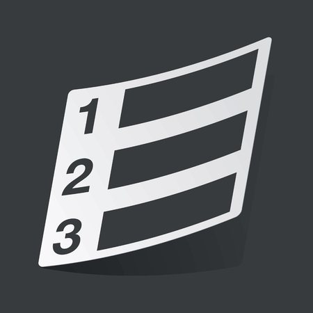 enumerated: White sticker with black image of numbered list, on black background Illustration