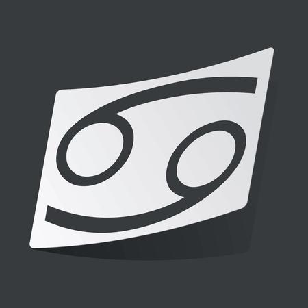 cancer zodiac: White sticker with black image of Cancer zodiac symbol, on black background