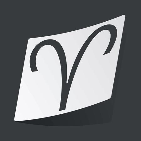 aries zodiac: White sticker with black image of Aries zodiac symbol, on black background Illustration