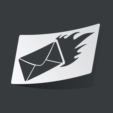 burning letter: White sticker with black image of burning letter, on black background