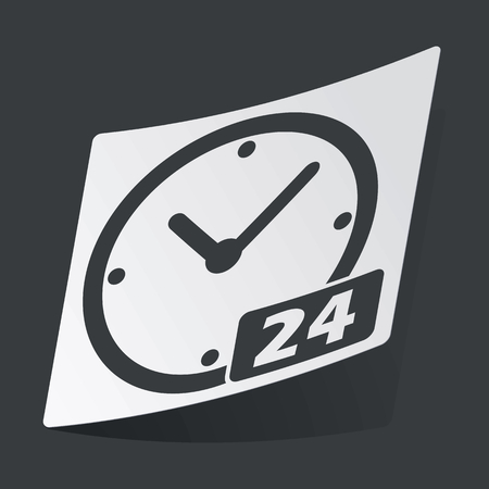 twenty four hours: White sticker with black image of clock with text 24, on black background Illustration