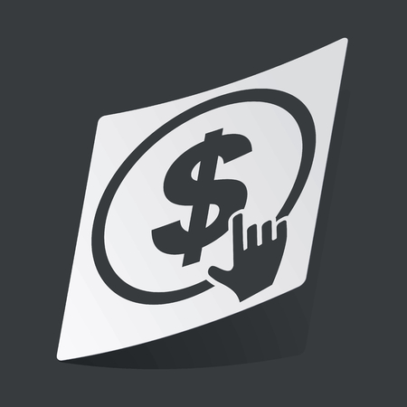 clicking: White sticker with black image of hand cursor clicking on dollar, on black background