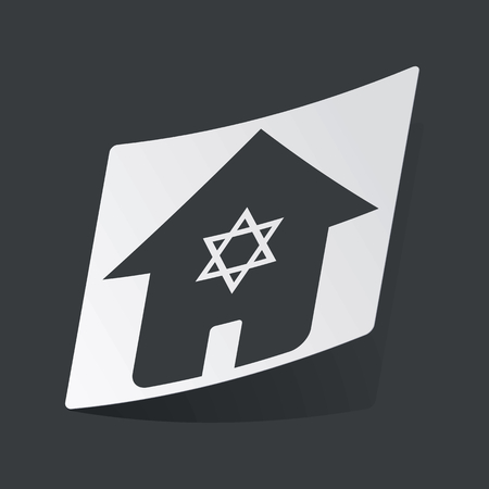 jewish home: White sticker with black image of house with Star of David, on black background Illustration