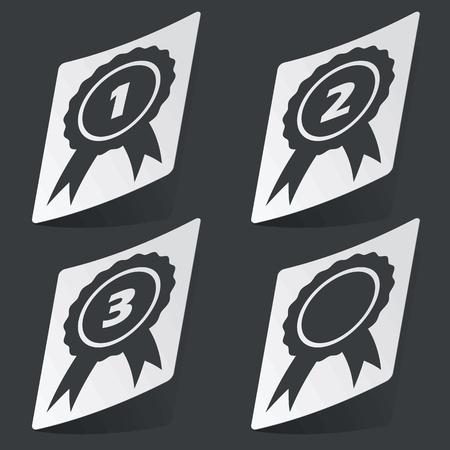 corroboration: White sticker with four black award images, on black background Illustration