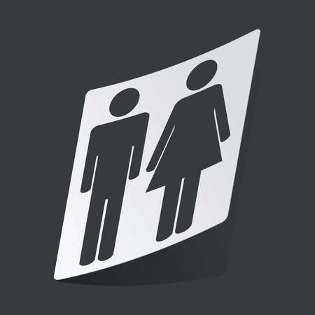 black woman: White sticker with black image of man and woman signs, on black background