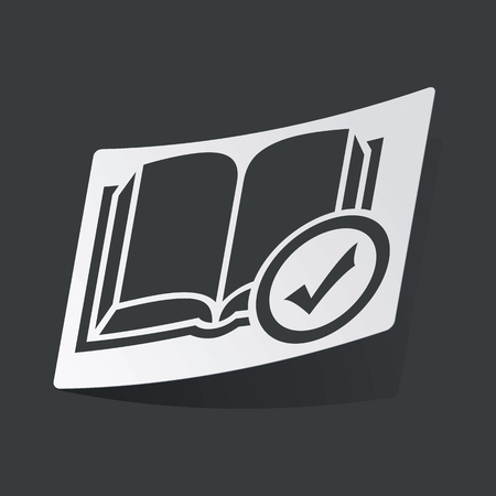 book mark: White sticker with black image of book with tick mark, on black background Illustration