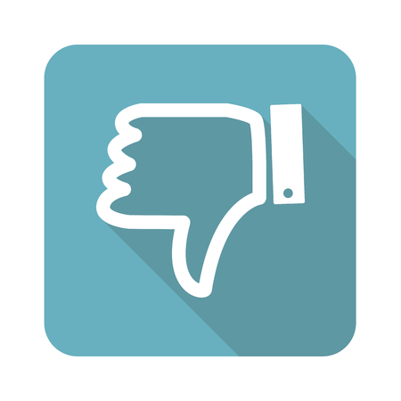disapproval: Image of dislike symbol in blue square, isolated on white Illustration