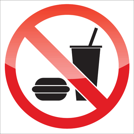 no image: Image of burger and drink, behind NO sign, on white background