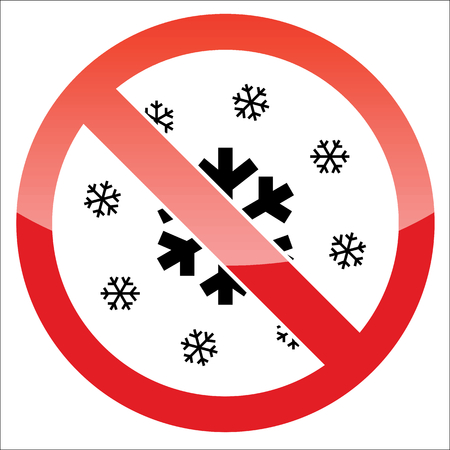 no image: Image of snowflakes, behind NO sign, on white background