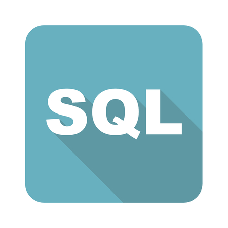 sql: Text SQL in blue square, isolated on white