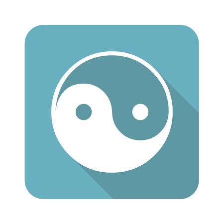 shady: Image of ying yang symbol in blue square, isolated on white Illustration