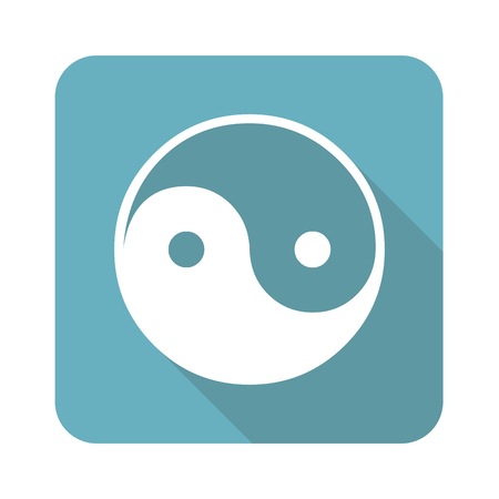Image of ying yang symbol in blue square, isolated on white Illustration
