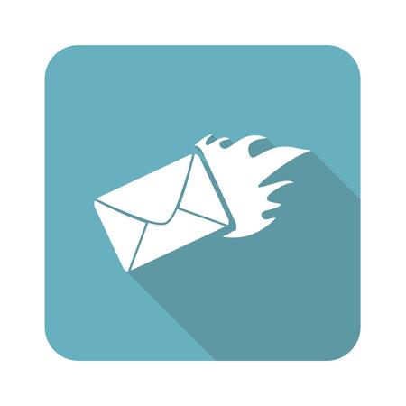 meaningful: Image of burning envelope in blue square, isolated on white Illustration
