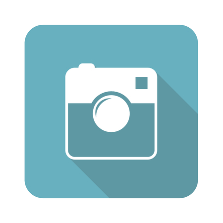 microblog: Image of square camera in blue square, isolated on white