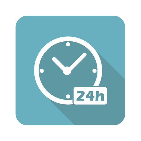 numbers clipart: Image of clock with text 24h in blue square, isolated on white