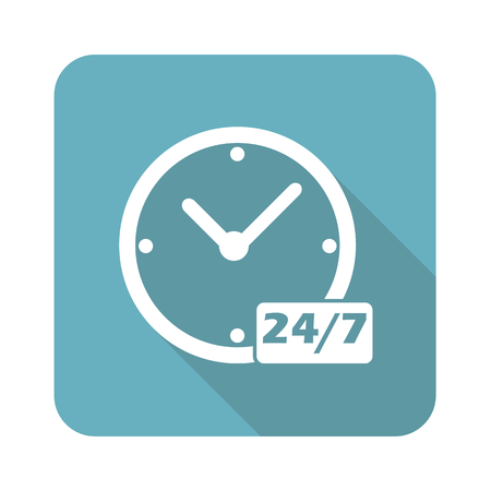 overnight: Image of clock with text 24 per 7 in blue square, isolated on white Illustration