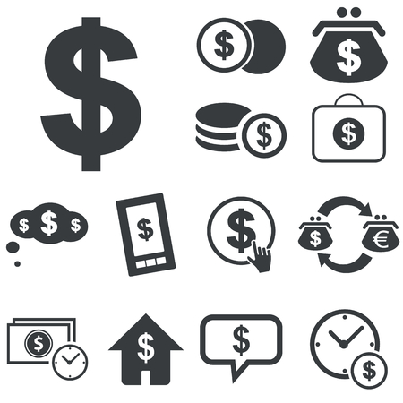 rouleau: Black icons with different dollar usage on white background