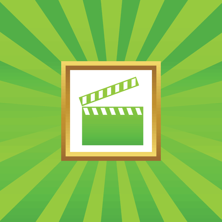 cinematograph: Image of clapperboard in golden frame, on green abstract background