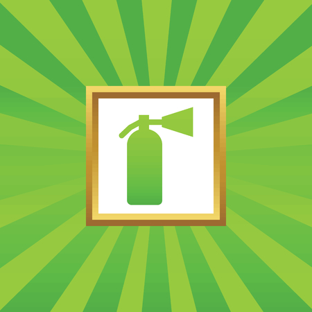 conflagration: Image of fire extinguisher in golden frame, on green abstract background