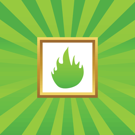 conflagration: Image of flame in golden frame, on green abstract background
