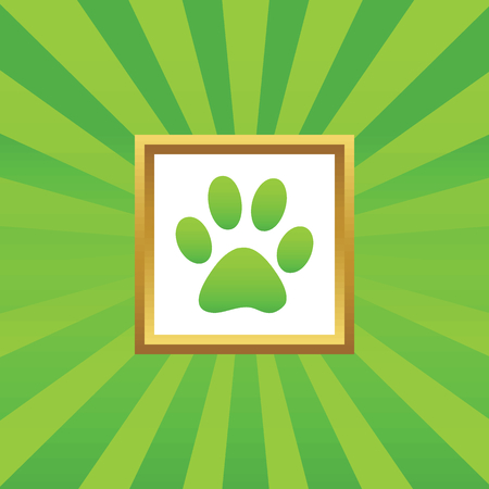 track pad: Image of paw print in golden frame, on green abstract background