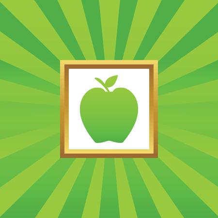 golden apple: Image of apple in golden frame, on green abstract background Illustration
