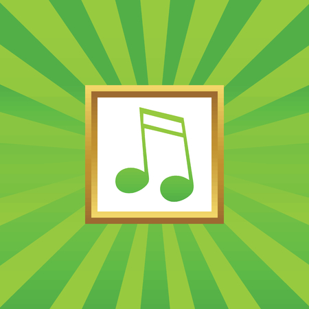 sixteenth note: Image of sixteenth note in golden frame, on green abstract background