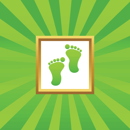 green footprint: Image of human footprint in golden frame, on green abstract background
