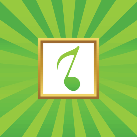eighth note: Image of eighth note in golden frame, on green abstract background