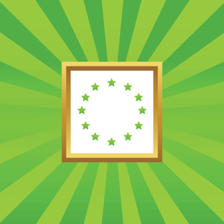 european integration: Image of EU symbol in golden frame, on green abstract background