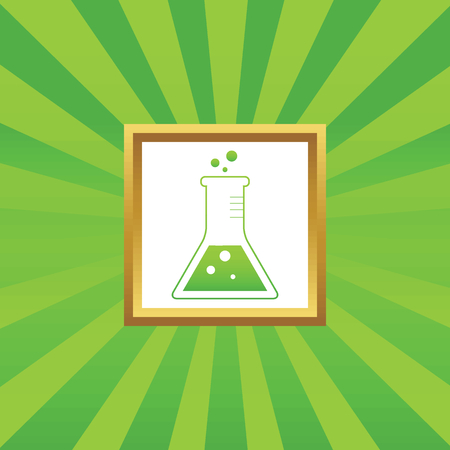 reagents: Image of conical flask in golden frame, on green abstract background Illustration